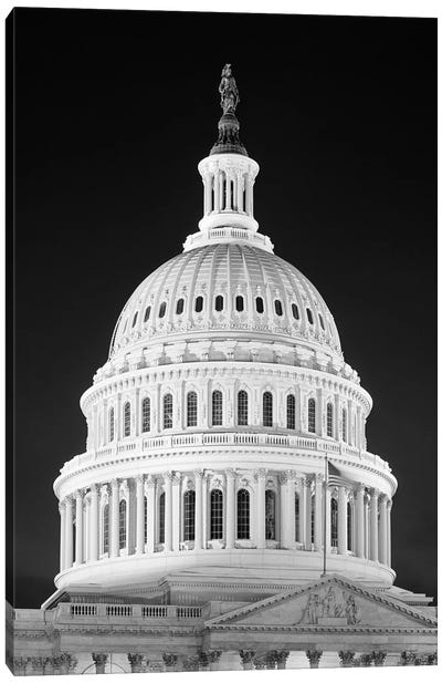 1950s-1960s Dome Of The Capitol Building At Night Washington Dc USA Canvas Art Print