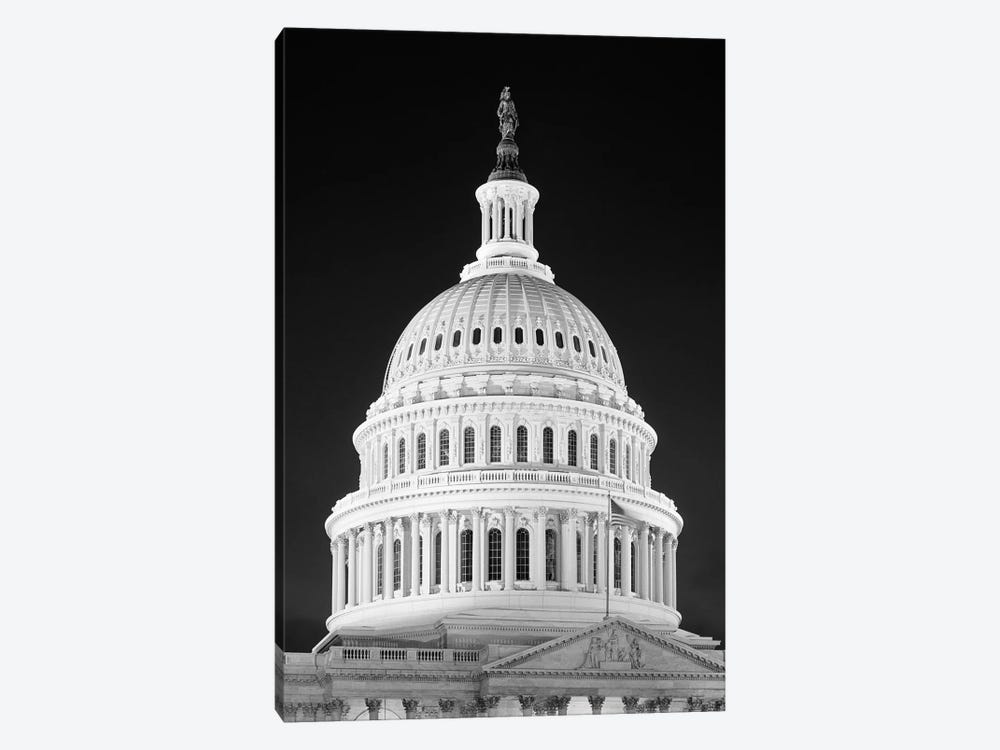1950s-1960s Dome Of The Capitol Building At Night Washington Dc USA 1-piece Canvas Art
