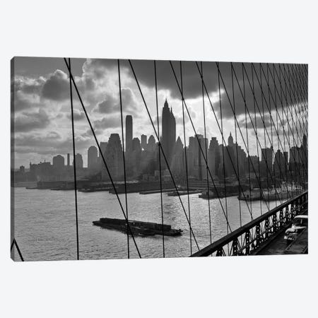 1950s-1960s Downtown Manhattan Skyline From Brooklyn Bridge Canvas Print #VTG374} by Vintage Images Canvas Print