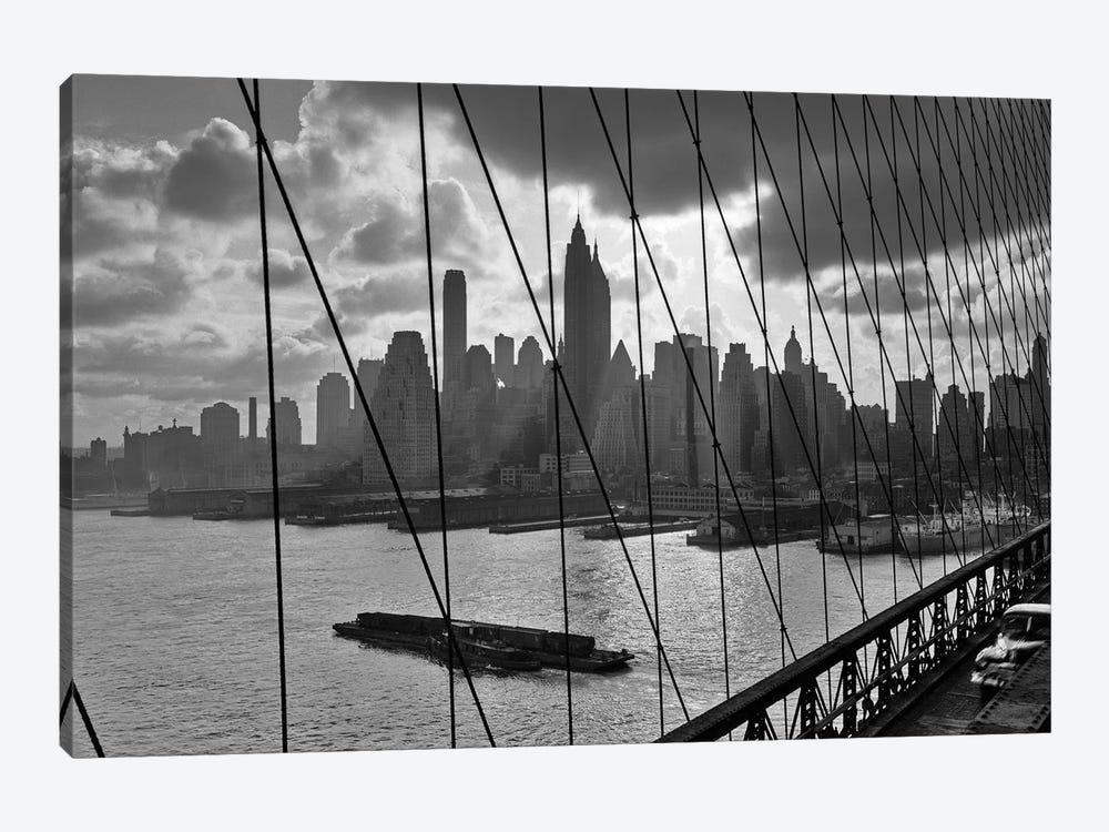 1950s-1960s Downtown Manhattan Skyline From Brooklyn Bridge by Vintage Images 1-piece Canvas Art Print