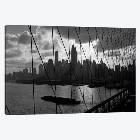 1950s-1960s Downtown Manhattan Skyline From Brooklyn Bridge Barge In East River NYC USA Canvas Print #VTG375} by Vintage Images Canvas Print