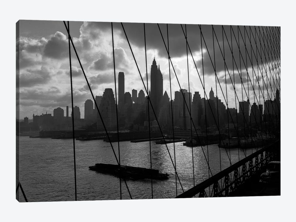 1950s-1960s Downtown Manhattan Skyline From Brooklyn Bridge Barge In East River NYC USA by Vintage Images 1-piece Canvas Artwork