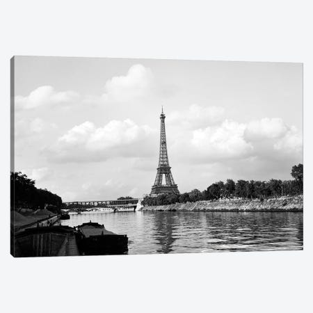 1950s-1960s Eiffel Tower Along River Seine Paris France Canvas Print #VTG376} by Vintage Images Art Print