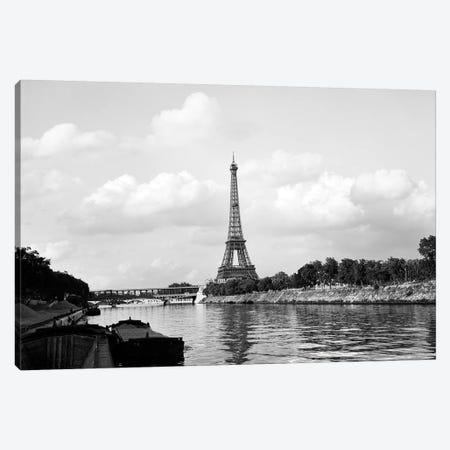 1950s-1960s Eiffel Tower Along River Seine Paris France Canvas Print #VTG376} by Vintage Images Art Print