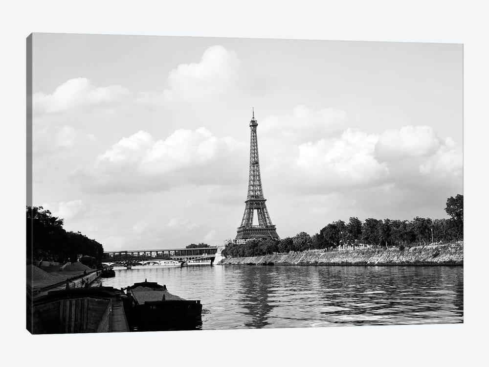 1950s-1960s Eiffel Tower Along River Seine Paris France by Vintage Images 1-piece Canvas Print