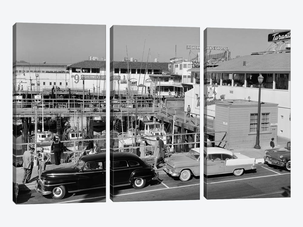1950s-1960s Fisherman's Wharf San Francisco Ca USA by Vintage Images 3-piece Canvas Wall Art
