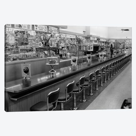 1950s-1960s Interior Of Lunch Counter With Chrome Stools Canvas Print #VTG379} by Vintage Images Canvas Art