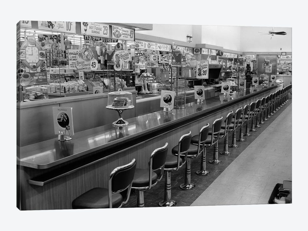 1950s-1960s Interior Of Lunch Counter With Chrome Stools by Vintage Images 1-piece Canvas Artwork