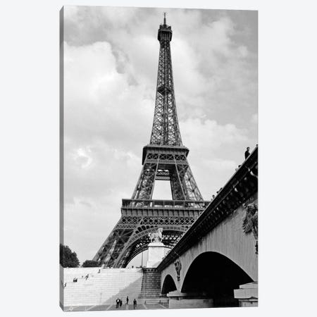 1920s Eiffel Tower With People Walking Up Stairs & Standing On Bridge In Foreground Canvas Print #VTG37} by Vintage Images Canvas Artwork