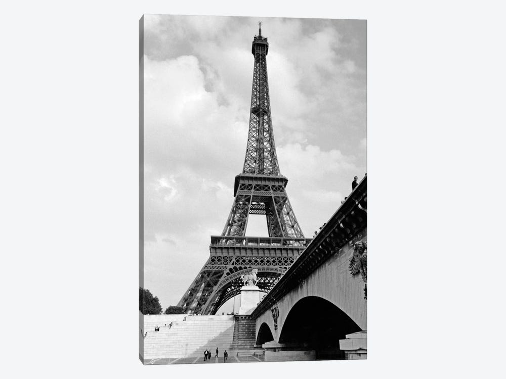 1920s Eiffel Tower With People Walking Up Stairs & Standing On Bridge In Foreground by Vintage Images 1-piece Canvas Artwork