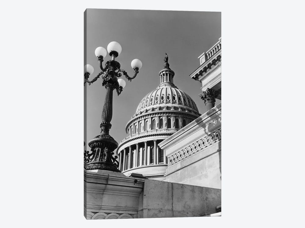1950s-1960s Low Angle View Of The Capitol Building Dome And Architectural Details Washington Dc USA by Vintage Images 1-piece Art Print