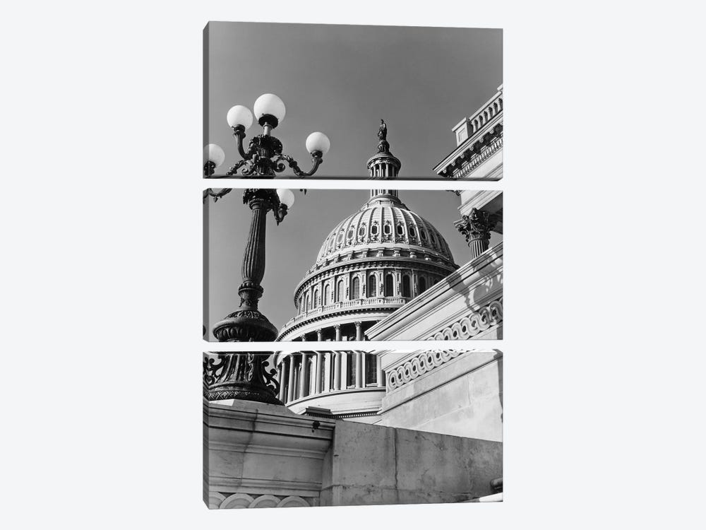 1950s-1960s Low Angle View Of The Capitol Building Dome And Architectural Details Washington Dc USA by Vintage Images 3-piece Canvas Art Print