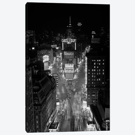 1950s-1960s Night Aerial View Times Square From Times Building Looking North Manhattan Canvas Print #VTG382} by Vintage Images Canvas Art Print