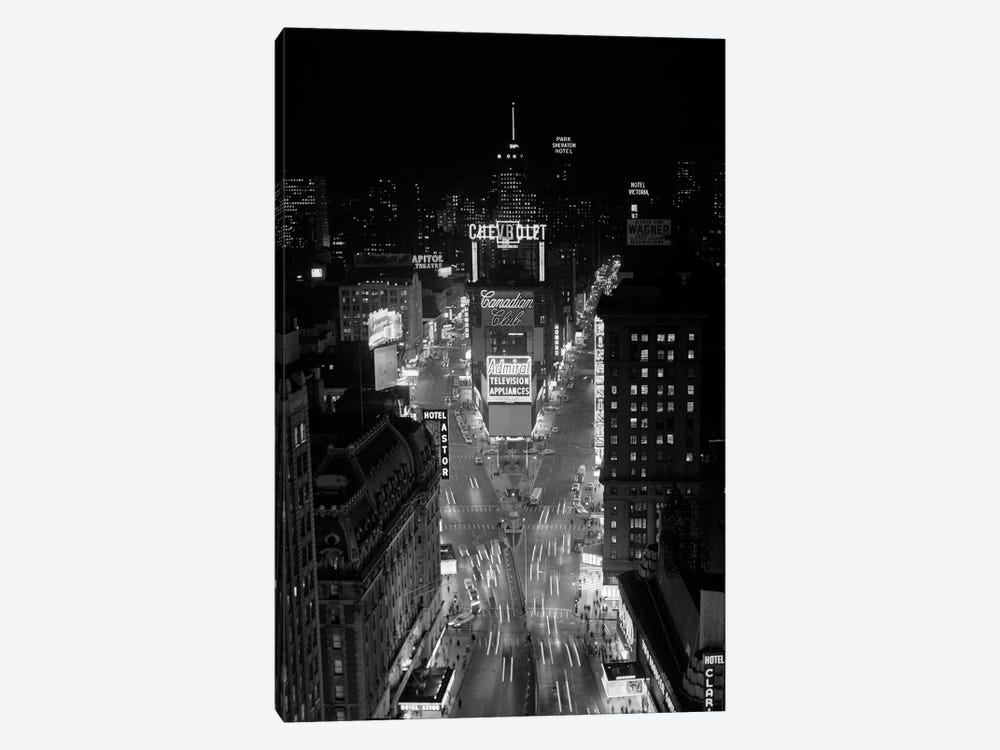1950s-1960s Night Aerial View Times Square From Times Building Looking North Manhattan by Vintage Images 1-piece Canvas Art
