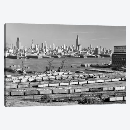 1950s-1960s Skyline Midtown Manhattan From Across The Hudson River Railroad Tracks Foreground In West New York NJ USA Canvas Print #VTG384} by Vintage Images Canvas Artwork