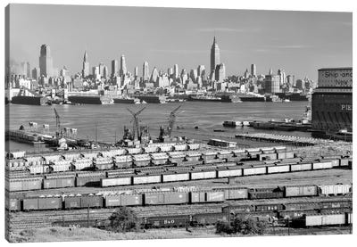 1950s-1960s Skyline Midtown Manhattan From Across The Hudson River Railroad Tracks Foreground In West New York NJ USA Canvas Art Print