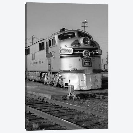 1950s-1960s Streamlined Burlington Route Railroad Train Diesel Locomotive Engine At Station Canvas Print #VTG385} by Vintage Images Canvas Art