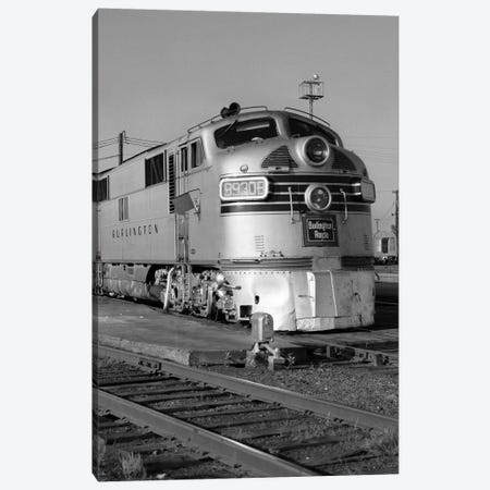 1950s-1960s Streamlined Burlington Route Railroad Train Diesel Locomotive Engine At Station Canvas Print #VTG385} by Vintage Images Canvas Art