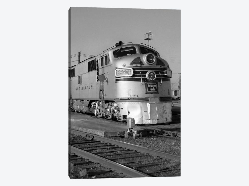 1950s-1960s Streamlined Burlington Route Railroad Train Diesel Locomotive Engine At Station by Vintage Images 1-piece Canvas Print