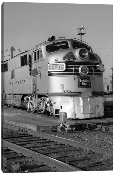 1950s-1960s Streamlined Burlington Route Railroad Train Diesel Locomotive Engine At Station Canvas Art Print