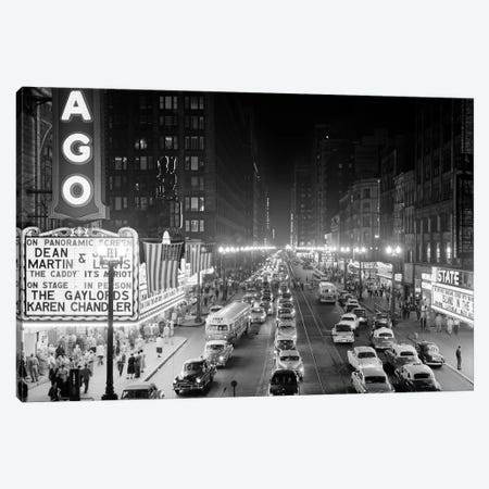 1953 Night Scene Of Chicago State Street With Traffic And Movie Marquee With Pedestrians On The Sidewalks Canvas Print #VTG389} by Vintage Images Canvas Print