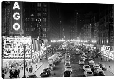 1953 Night Scene Of Chicago State Street With Traffic And Movie Marquee With Pedestrians On The Sidewalks Canvas Art Print