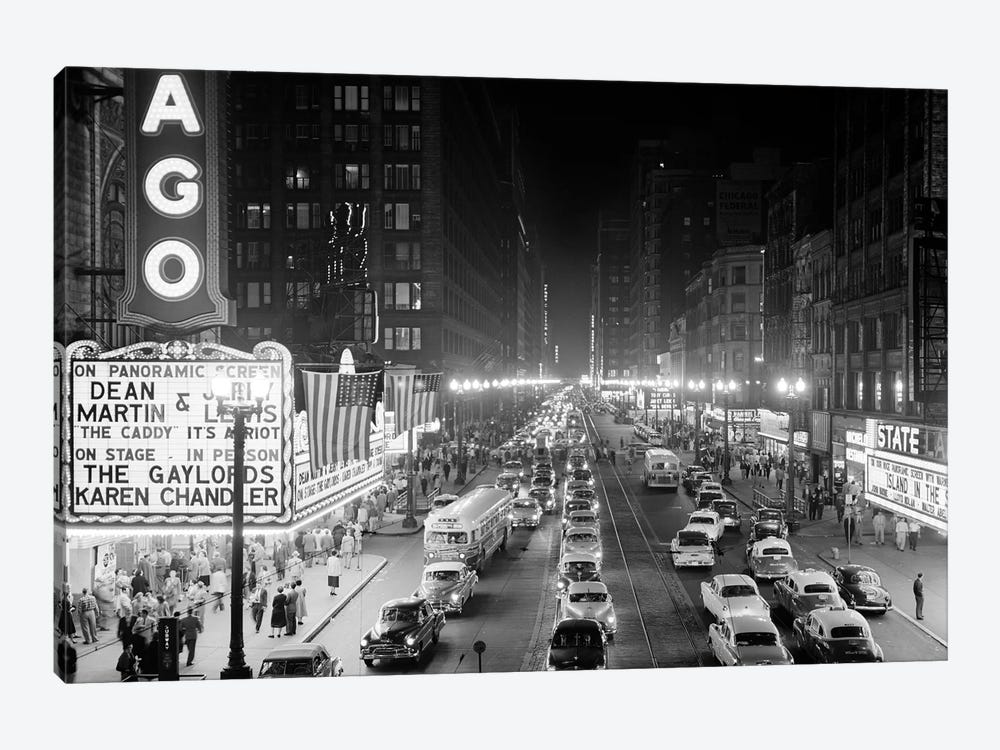 1953 Night Scene Of Chicago State Street With Traffic And Movie Marquee With Pedestrians On The Sidewalks by Vintage Images 1-piece Art Print