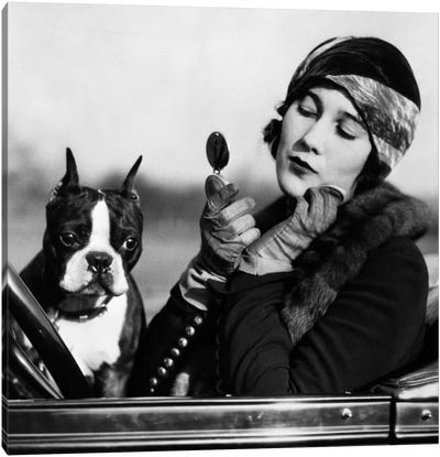 1920s Flapper In Convertible Powdering Her Cheek In Mirror With Boston Bulldog In Her Lap Canvas Art Print
