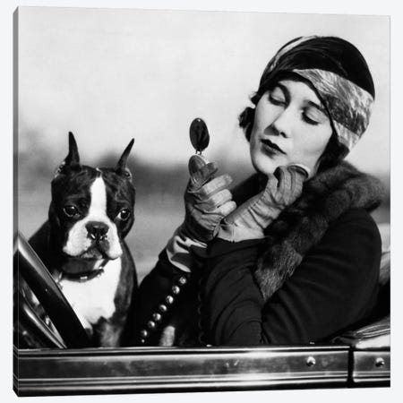 1920s Flapper In Convertible Powdering Her Cheek In Mirror With Boston Bulldog In Her Lap Canvas Print #VTG38} by Vintage Images Canvas Print