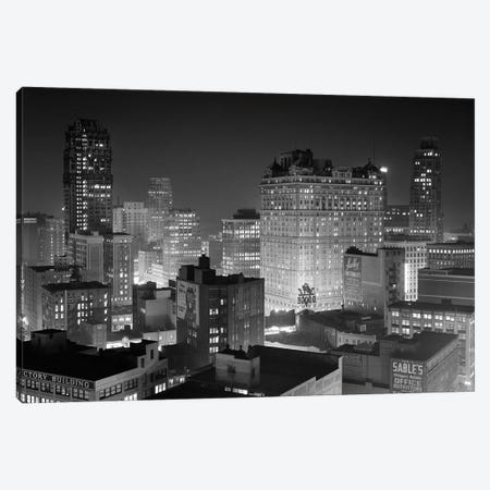 1954 Night Skyline Retail Business Area Detroit Michigan USA Canvas Print #VTG391} by Vintage Images Canvas Artwork