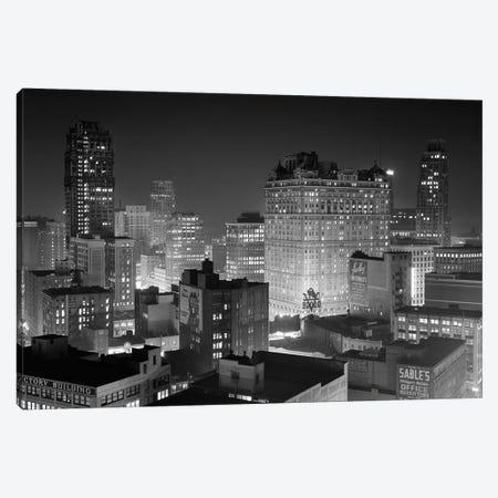 1954 Night Skyline Retail Business Area Detroit Michigan USA Canvas Print #VTG391} by Vintage Images Canvas Artwork