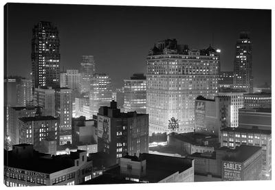 1954 Night Skyline Retail Business Area Detroit Michigan USA Canvas Art Print