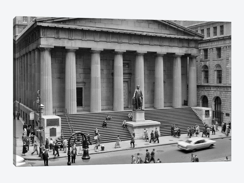 1958 Wall Street Federal Hall National Memorial New York City USA by Vintage Images 1-piece Canvas Art Print