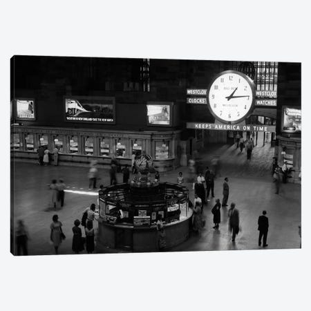 1959 Grand Central Passenger Railroad Station Main Hall Information Booth And Train Ticket Windows NYC NY USA Canvas Print #VTG396} by Vintage Images Canvas Print