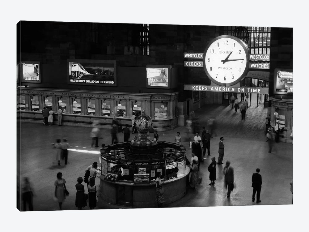 1959 Grand Central Passenger Railroad Station Main Hall Information Booth And Train Ticket Windows NYC NY USA by Vintage Images 1-piece Art Print