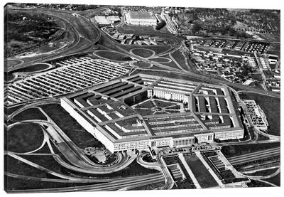 1960s Aerial View Of Army Pentagon And Navy Annex Arlington Virginia USA Canvas Art Print
