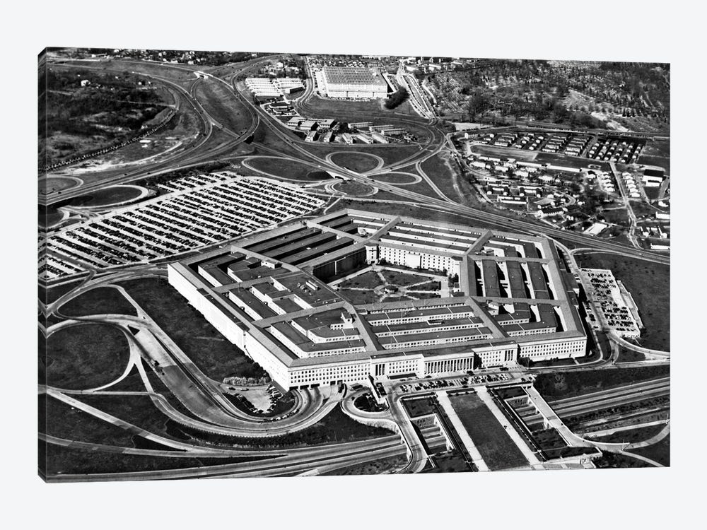 1960s Aerial View Of Army Pentagon And Navy Annex Arlington Virginia USA 1-piece Canvas Artwork