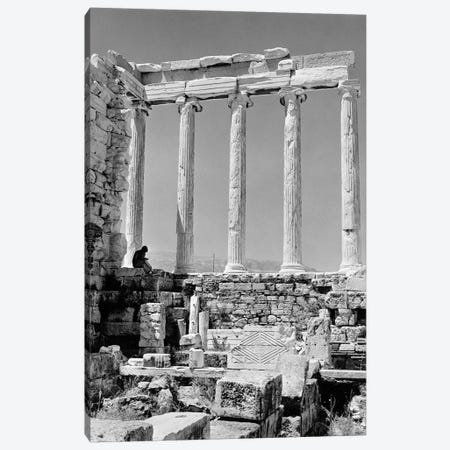 1960s Anonymous Book Reader Sitting Among Greek Columns Architecture Ruins Before Restoration Parthenon Athens Acropolis 3-Piece Canvas #VTG399} by Vintage Images Canvas Wall Art