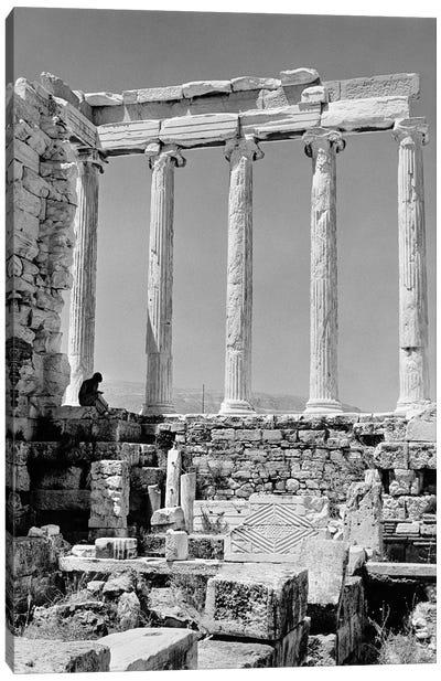 1960s Anonymous Book Reader Sitting Among Greek Columns Architecture Ruins Before Restoration Parthenon Athens Acropolis Canvas Art Print