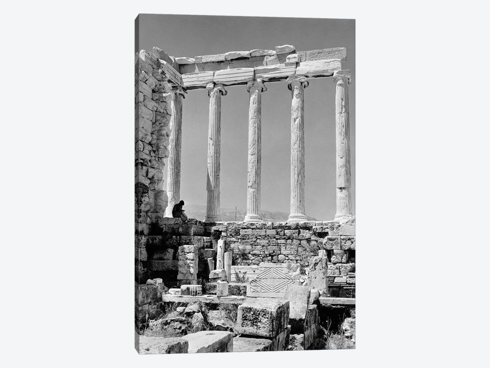 1960s Anonymous Book Reader Sitting Among Greek Columns Architecture Ruins Before Restoration Parthenon Athens Acropolis by Vintage Images 1-piece Canvas Art