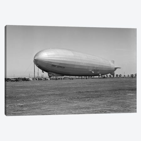1920s German Rigid Airship Graf Zeppelin D-LZ-127 Moored Being Serviced By Small Crew October 10 1928 Lakehurst New Jersey USA Canvas Print #VTG39} by Vintage Images Canvas Art Print