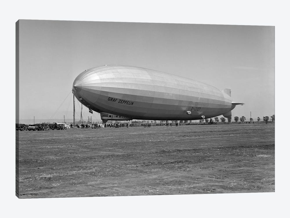 1920s German Rigid Airship Graf Zeppelin D-LZ-127 Moored Being Serviced By Small Crew October 10 1928 Lakehurst New Jersey USA by Vintage Images 1-piece Canvas Artwork