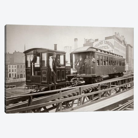 1880s Men On Board Elevated Locomotive & Passenger Car On East 42nd Street Grand Union Hotel In Background New York City USA Canvas Print #VTG3} by Vintage Images Canvas Art Print