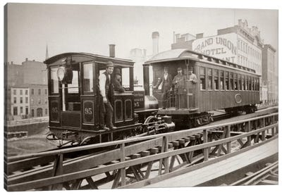 1880s Men On Board Elevated Locomotive & Passenger Car On East 42nd Street Grand Union Hotel In Background New York City USA Canvas Art Print