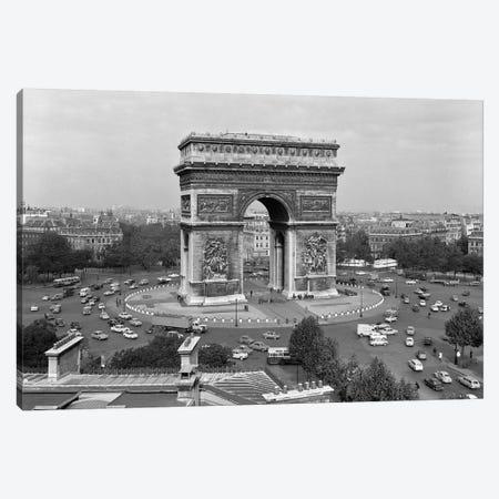 1960s Arc De Triomphe In Center Of Place de l'Etoile Champs Elysees At Lower Right Paris France Canvas Print #VTG401} by Vintage Images Canvas Wall Art