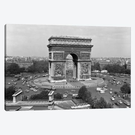 1960s Arc De Triomphe In Center Of Place de l'Etoile Champs Elysees At Lower Right Paris France Canvas Print #VTG401} by Vintage Images Canvas Wall Art