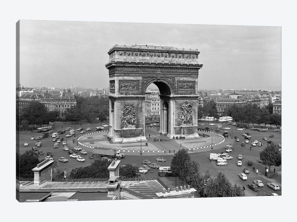 1960s Arc De Triomphe In Center Of Place de l'Etoile Champs Elysees At Lower Right Paris France by Vintage Images 1-piece Canvas Art