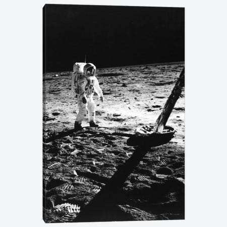 1960s Astronaut Buzz Aldrin In Space Suit Walking On The Moon Near The Apollo 11 Lunar Module July 20, 1969 Canvas Print #VTG402} by Vintage Images Canvas Wall Art