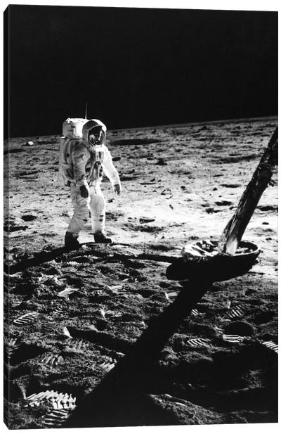 1960s Astronaut Buzz Aldrin In Space Suit Walking On The Moon Near The Apollo 11 Lunar Module July 20, 1969 Canvas Art Print