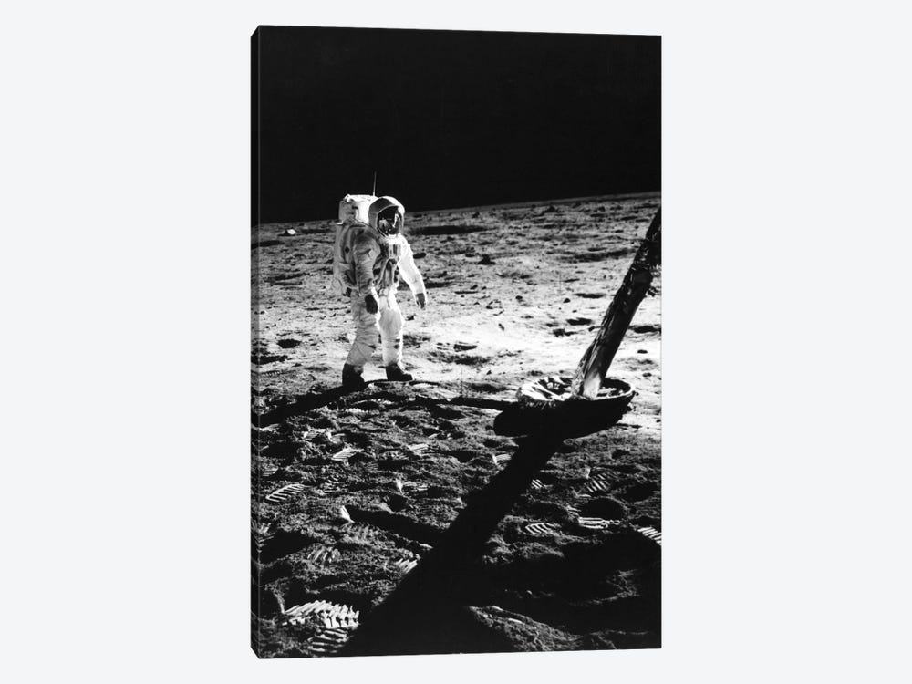 1960s Astronaut Buzz Aldrin In Space Suit Walking On The Moon Near The Apollo 11 Lunar Module July 20, 1969 by Vintage Images 1-piece Canvas Art Print